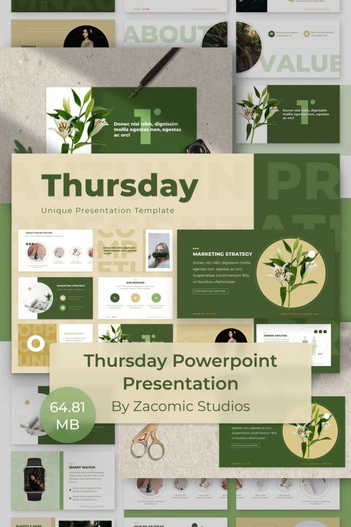 Thursday Powerpoint Presentation Template by MasterBundles Pinterest Collage Image.