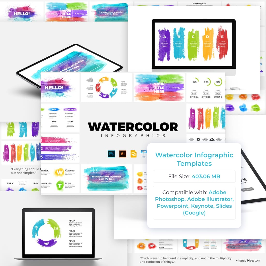 Watercolor Infographic Templates by MasterBundles.