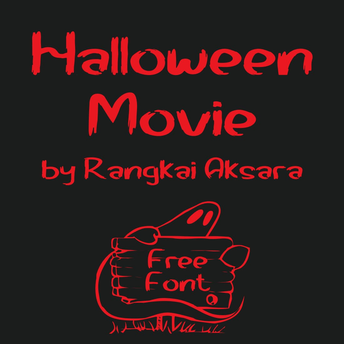 Halloween movie font free Red Cover Image by MasterBundles.