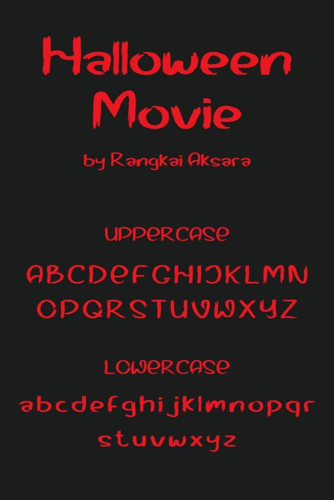 MasterBundles Halloween movie font free Uppercase and Lowercase Pinterest Collage Image.