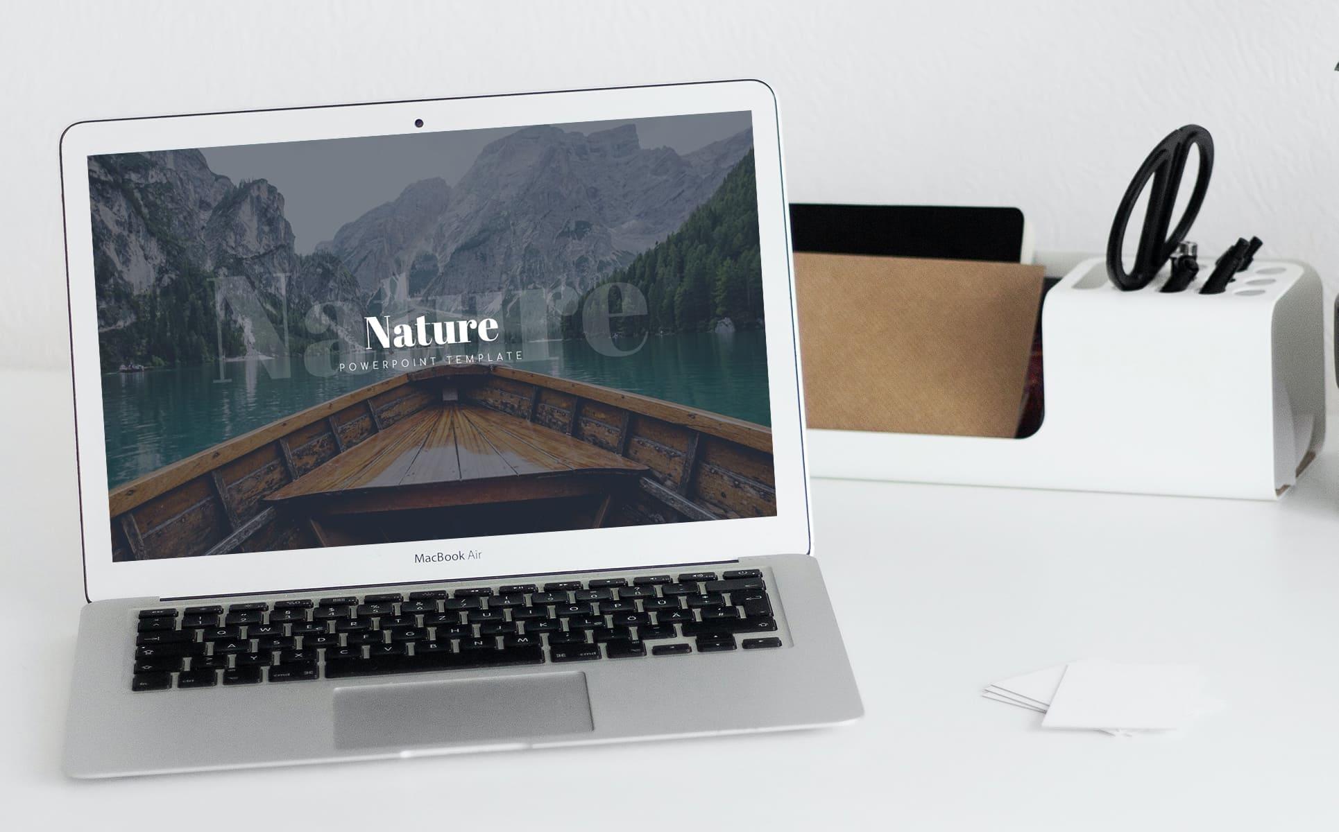 Nature Presentation Template by MasterBundles notebook preview mockup image.