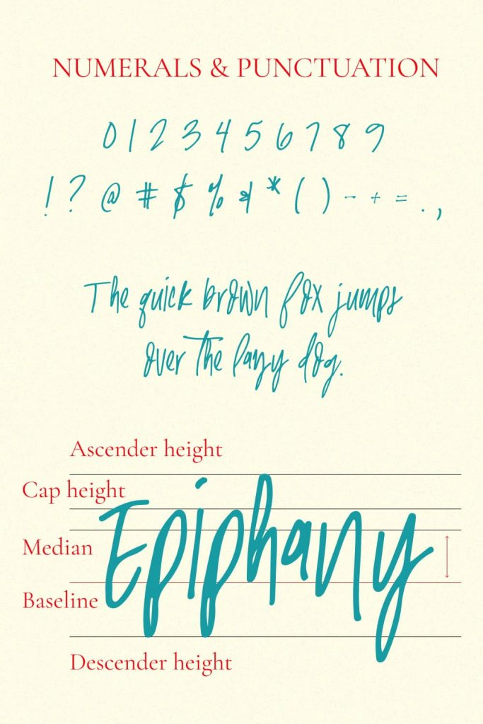 MasterBundles Pinterest Numerals and Punctuation Preview for Epiphany Handwriting Font.