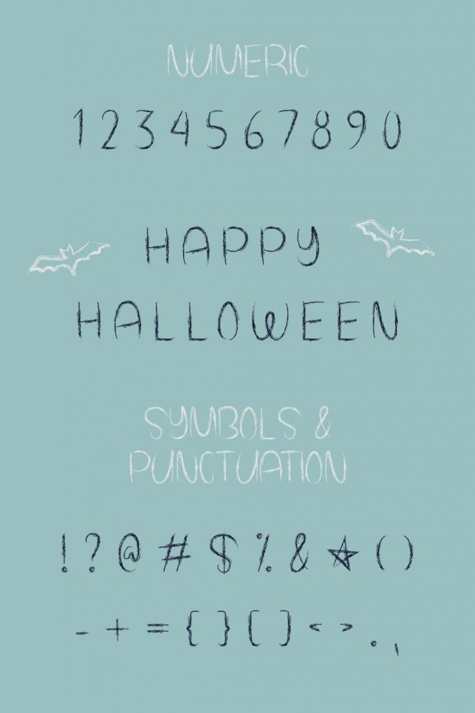 Free Spooky Halloween Font Pinterest Collage Image with Numeric and Symbols.