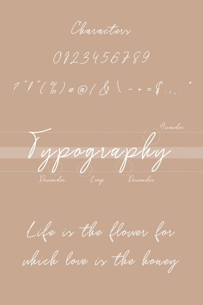 Gossamer Handwriting Font Pinterest Preview with Symbols and Numbers.