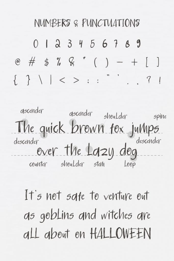 Pinterest Preview for cute free halloween font Numbers and Punctuations.
