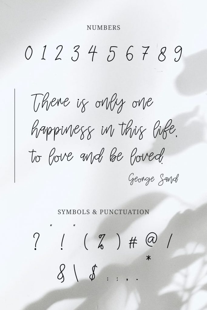 Mignonette Handwriting Font Pinterest Preview with Numbers and Symbols.