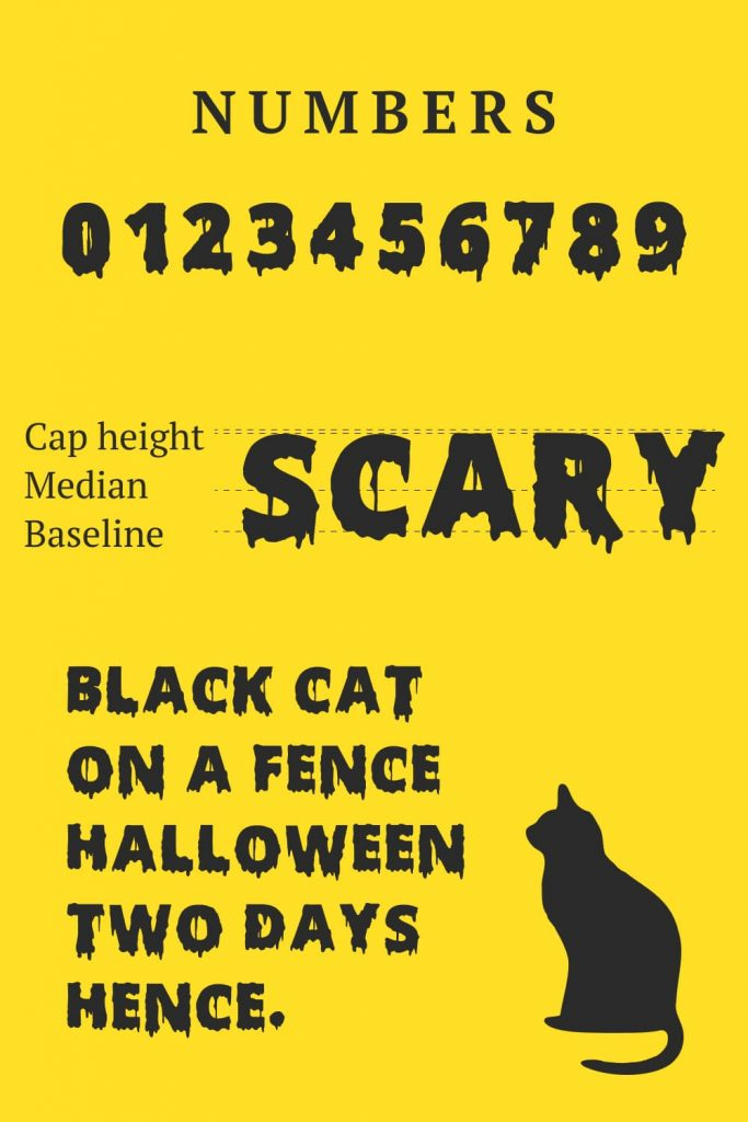 MasterBundles Scary Halloween font free Pinterest Preview for Numbers.
