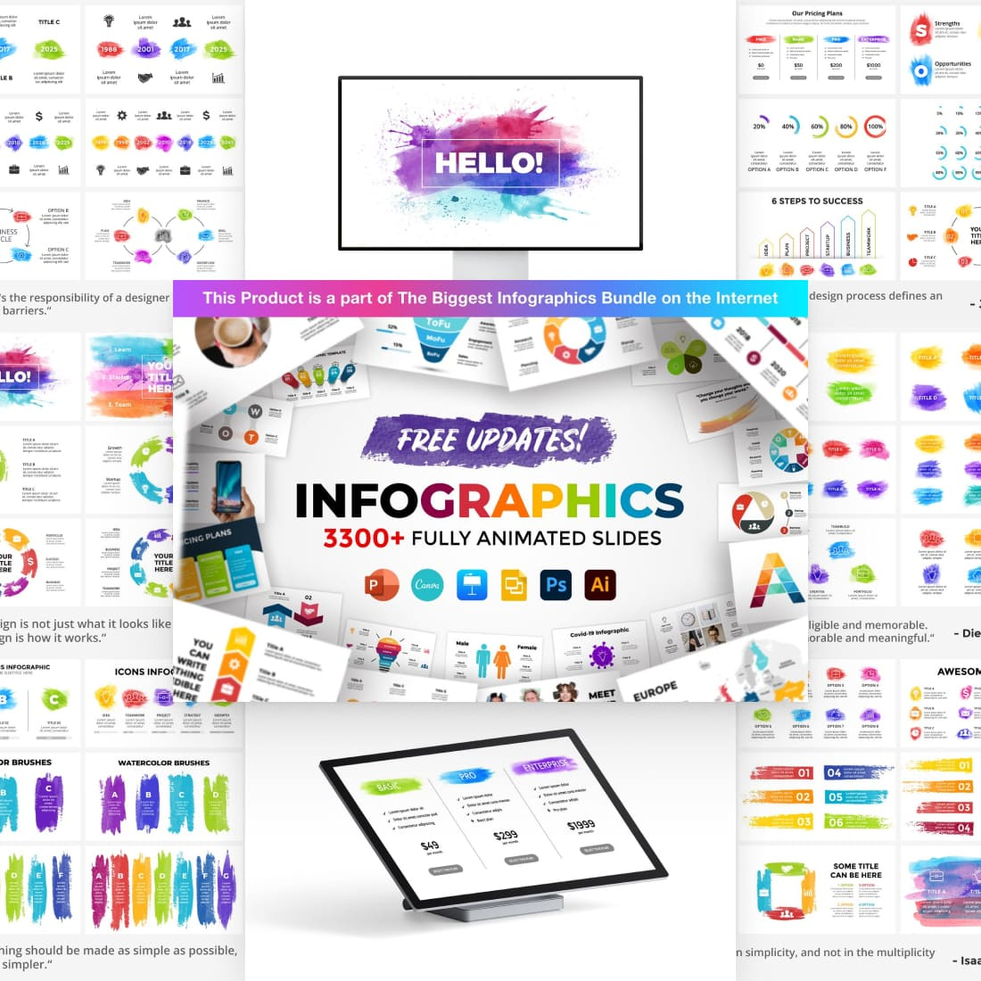 Watercolor Infographic Templates.