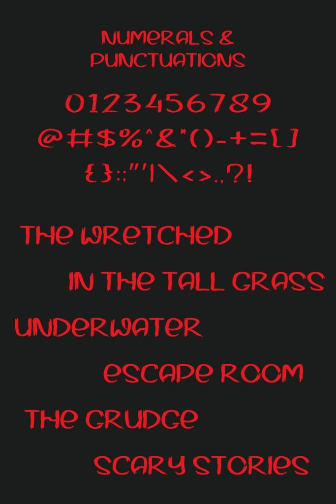 Numerals and Symbols Punctuation Pinterest Preview for halloween movie font free by MasterBundles.