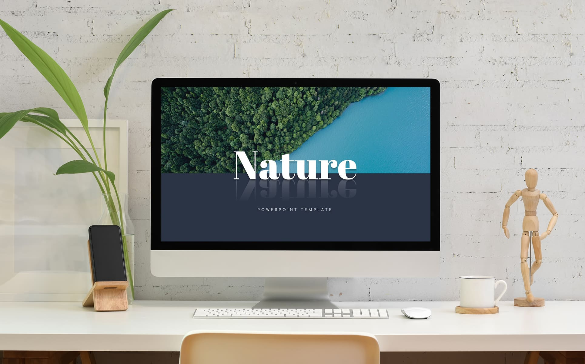 Nature Presentation Template by MasterBundles Desktop preview mockup image.