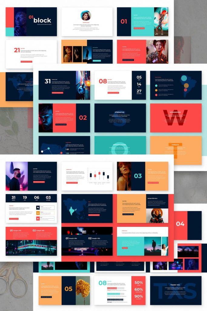 Block Powerpoint Presentation Template by MasterBundles Pinterest Collage Image.