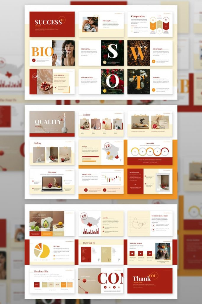 Ginger Powerpoint Presentation Template by MasterBundles Pinterest Collage Image.