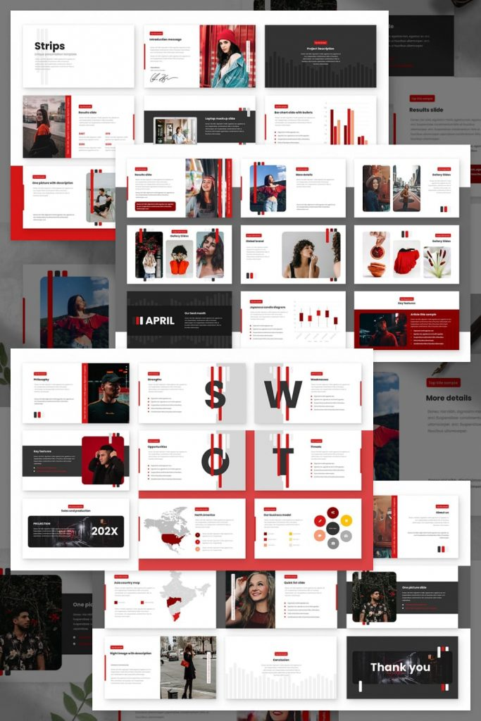 Strips Class Powerpoint Presentation Template by MasterBundles Pinterest Collage Image.