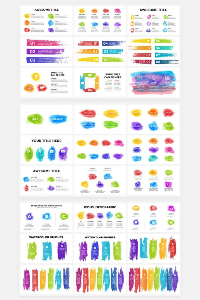 Watercolor Infographic Templates by MasterBundles Pinterest Collage Image.