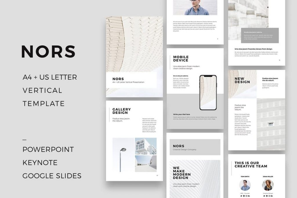 NORS - Vertical A4 + US Letter Powerpoint Template.