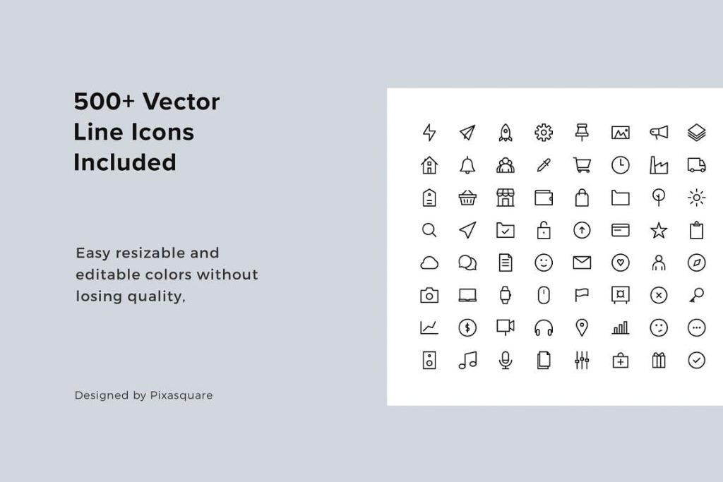 500+ Vector Line Icons ARON Vertical Google Slides Template.