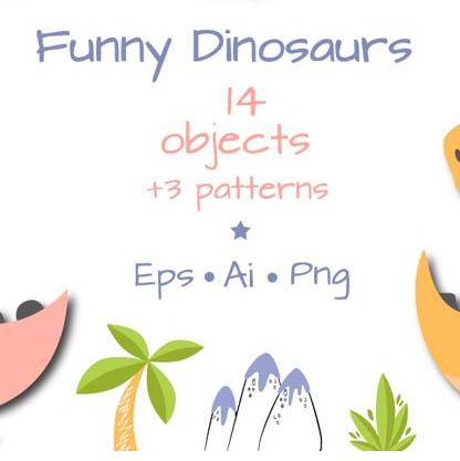 Funny Dinosaur Vectors: 14 Illustrations & 3 Patterns cover image.