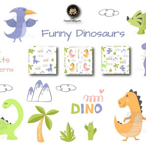 Funny Dinosaur Vectors: 14 Illustrations & 3 Patterns preview image.