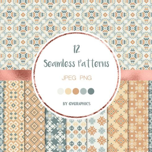 Geometrical Ornaments Seamless Patterns preview image.