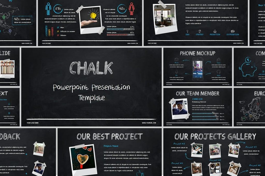 Professional Chalk - Powerpoint Presentations Template.