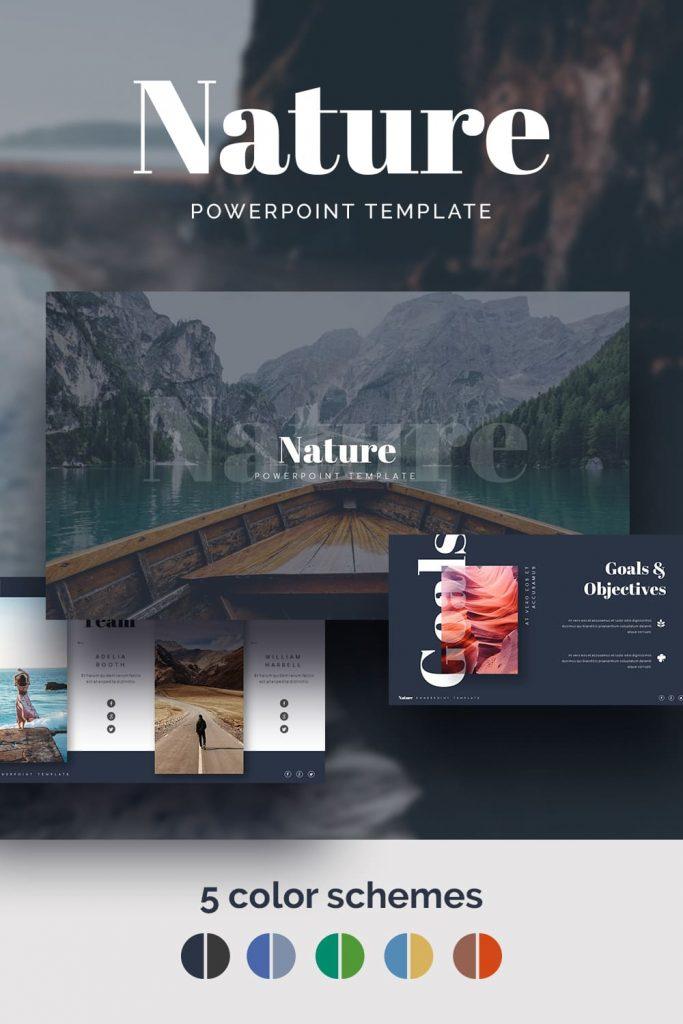 Nature Presentation Template by MasterBundles Pinterest Collage Image.
