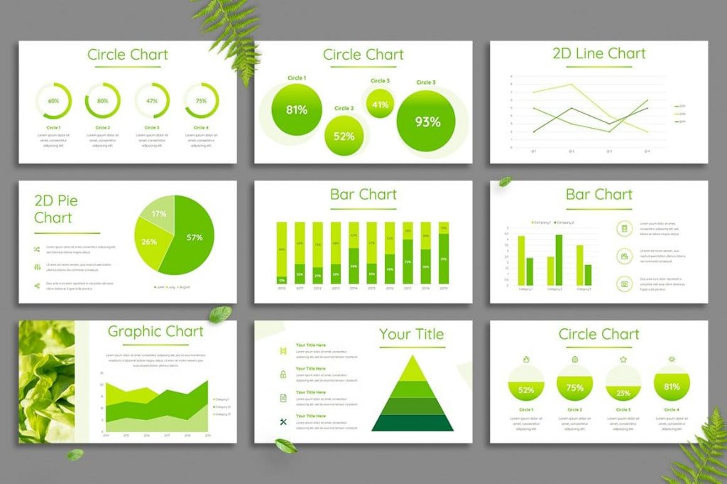 Multiple Leaf Charts and Diagrams - Powerpoint Template.
