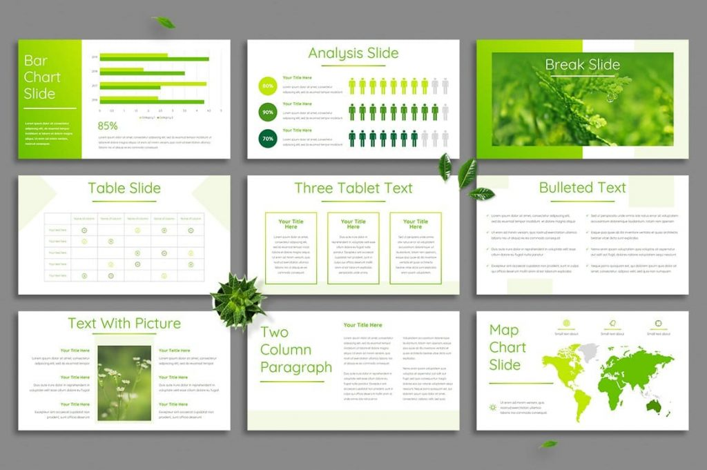 Free fonts included Leaf - Powerpoint Template.