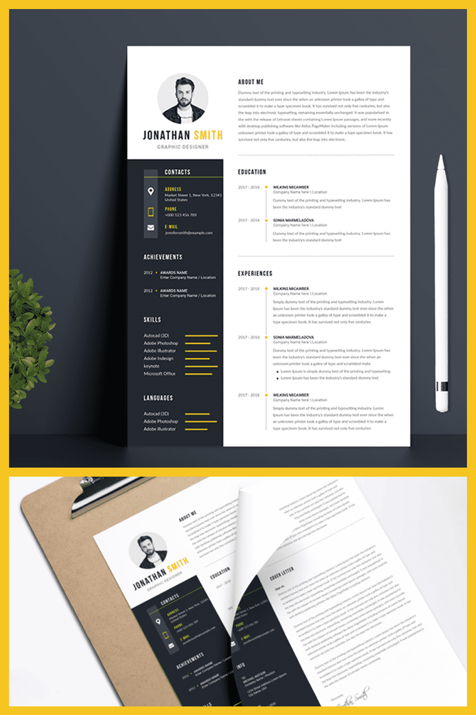 Modern Professional Resume Template - MasterBundles - Pinterest Collage Image.