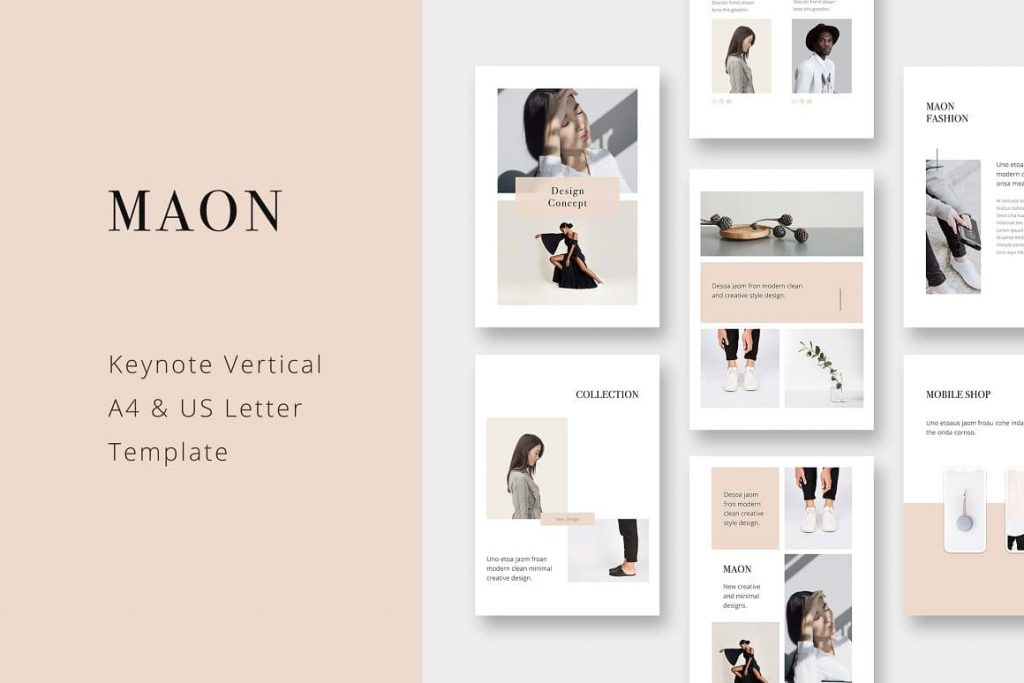 MAON - Vertical A4 + US Letter Keynote Template.