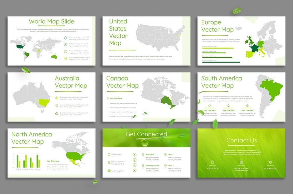 Editable World Maps Leaf - Powerpoint Template.
