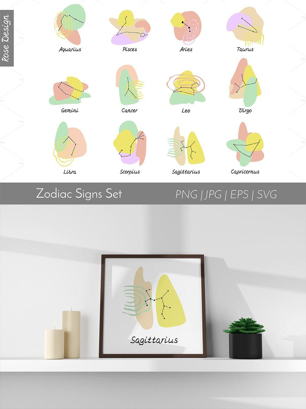 12 Abstrac Zodiac Signs Set Vector Illustration.