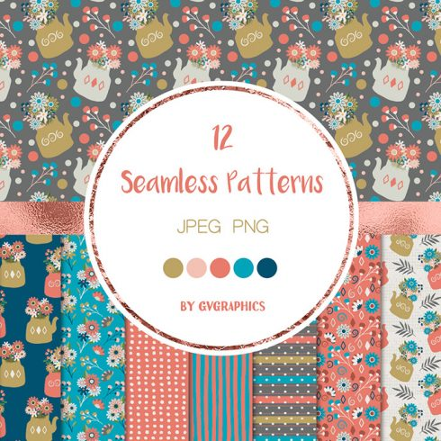 12 Flowers Berries and Teapots Seamless Patterns Preview.