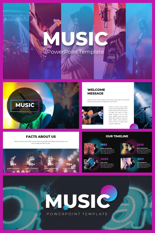 50 Slides Music Presentation Template - MasterBundles - Pinterest Collage Image.