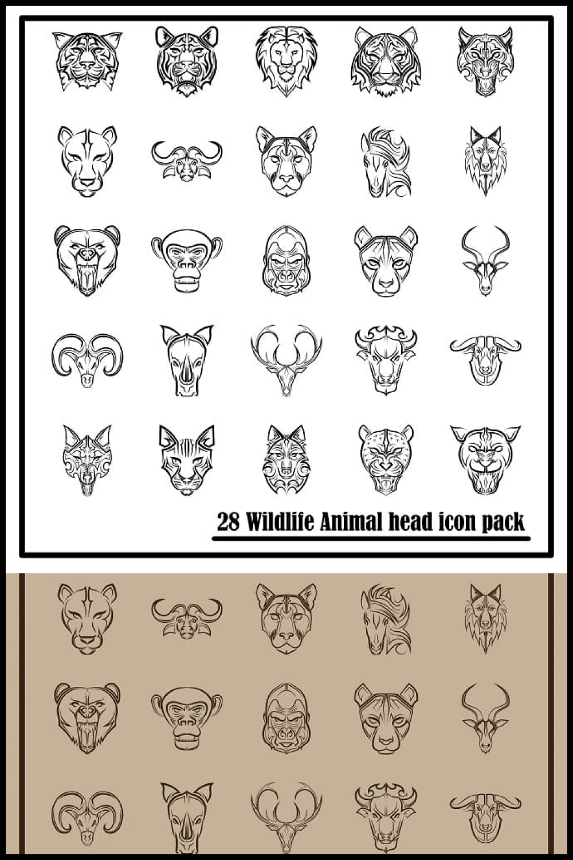 Line Art Icon Set of Wildlife Animal Front View Head - MasterBundles - Pinterest Collage Image.