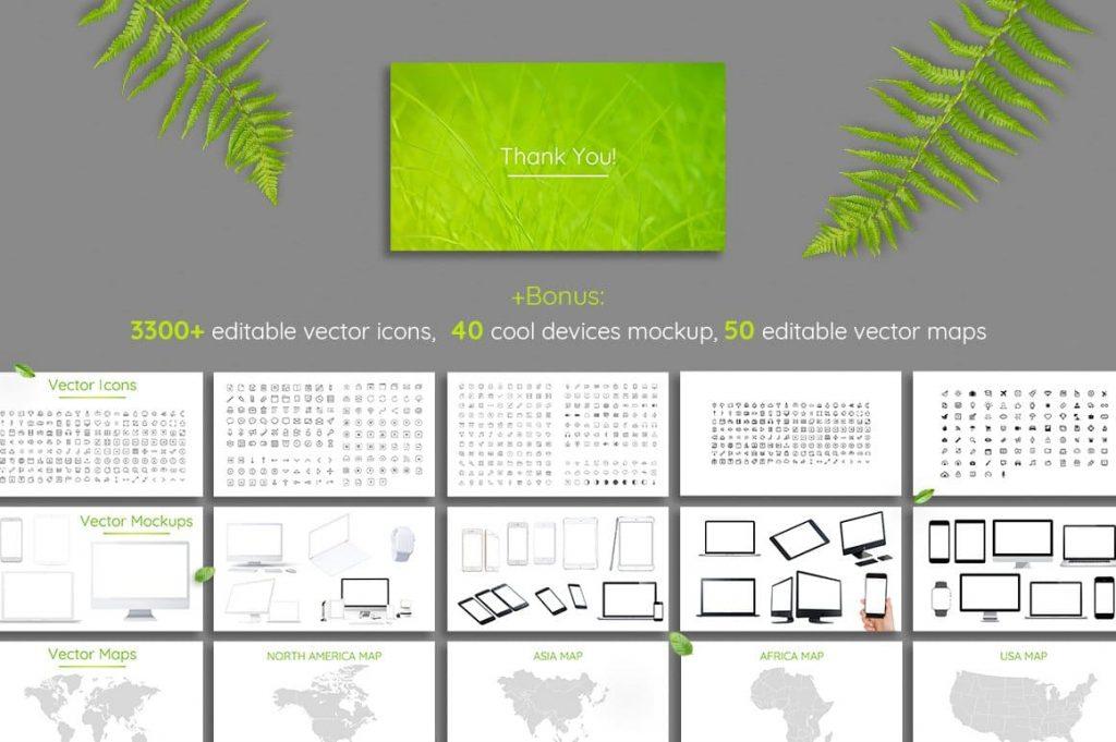 Bonus Vector Leaf Icons - Powerpoint Template.