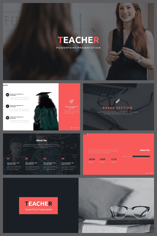 50 Slides Teacher Presentation Template - MasterBundles - Pinterest Collage Image.