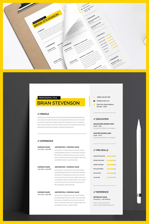 Clean Modern Resume Template - MasterBundles - Pinterest Collage Image.