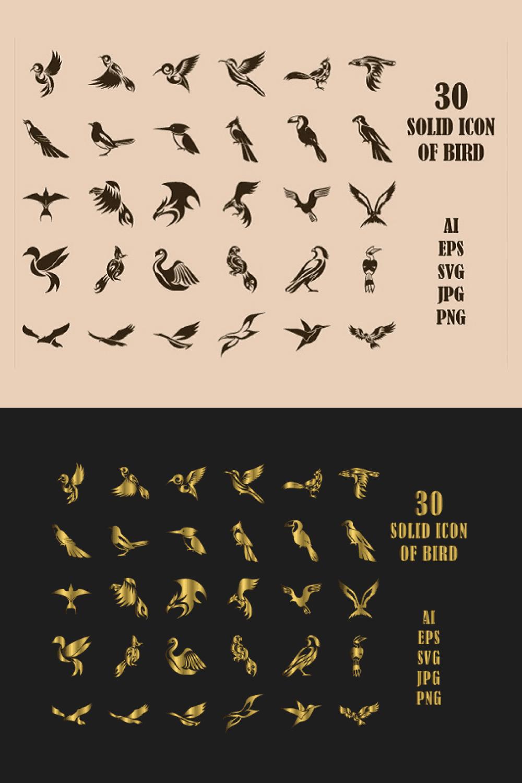 45 Solid Icon Set of Bird - MasterBundles - Pinterest Collage Image.