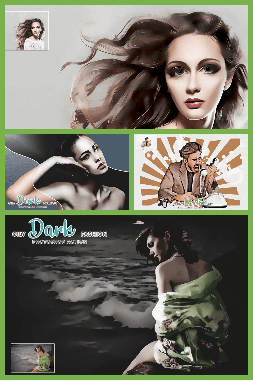 Modern Art Painting – 19 in 1 Photoshop Action Bundle - MasterBundles - Pinterest Collage Image.