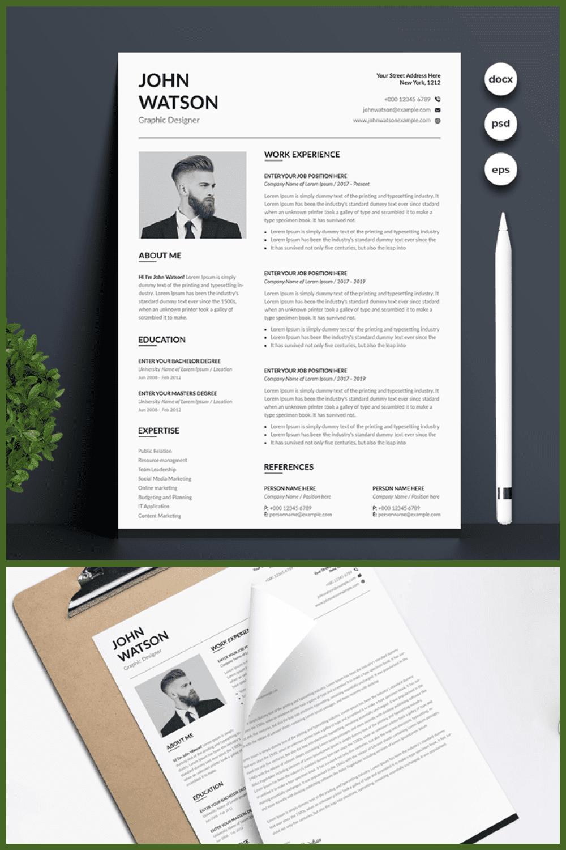 Modern Minimalist Resume Template - MasterBundles - Pinterest Collage Image.
