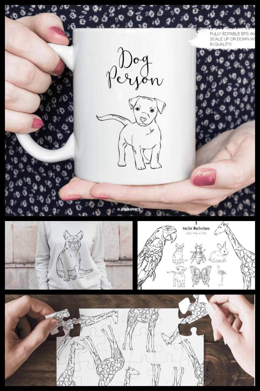 Hand Drawn Animals Illustrations - MasterBundles - Pinterest Collage Image.