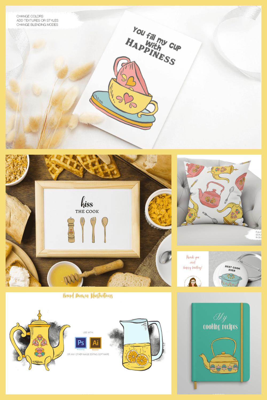 Hand Drawn Kitchen Utensils Vector Illustrations - MasterBundles - Pinterest Collage Image.