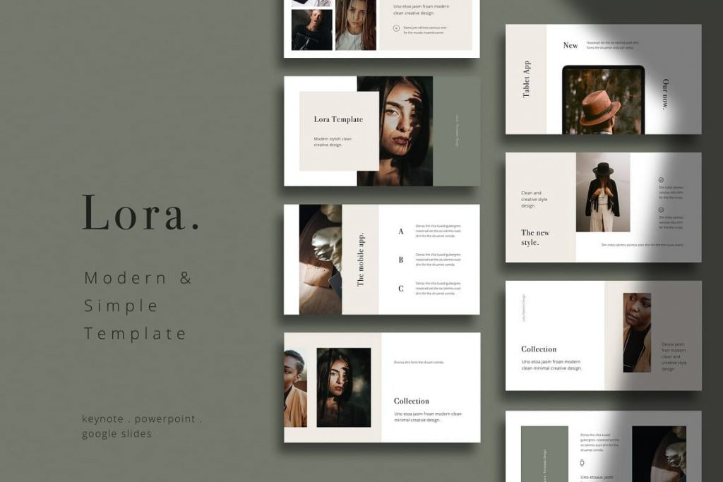 Preview LORA Stylish & Simple Powerpoint, Keynote, Google Slides Template.