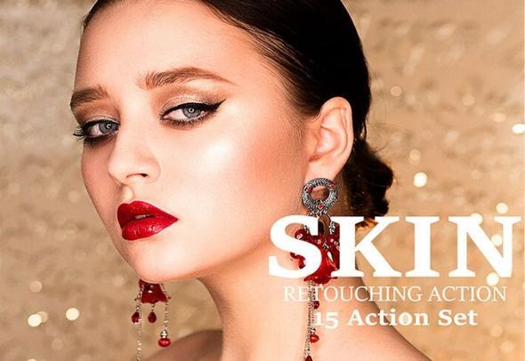 15 Skin Retouching Photoshop Actions Bundle Cover Image.