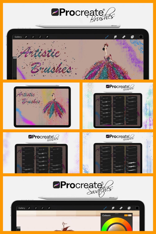 Digital Painting Assets – Portrait - MasterBundles - Pinterest Collage Image.
