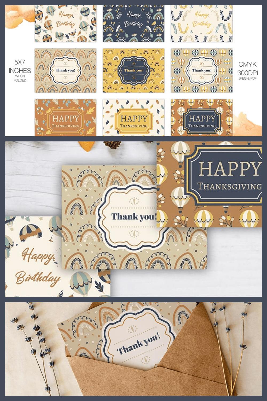 Fall Greeting Cards - MasterBundles - Pinterest Collage Image.