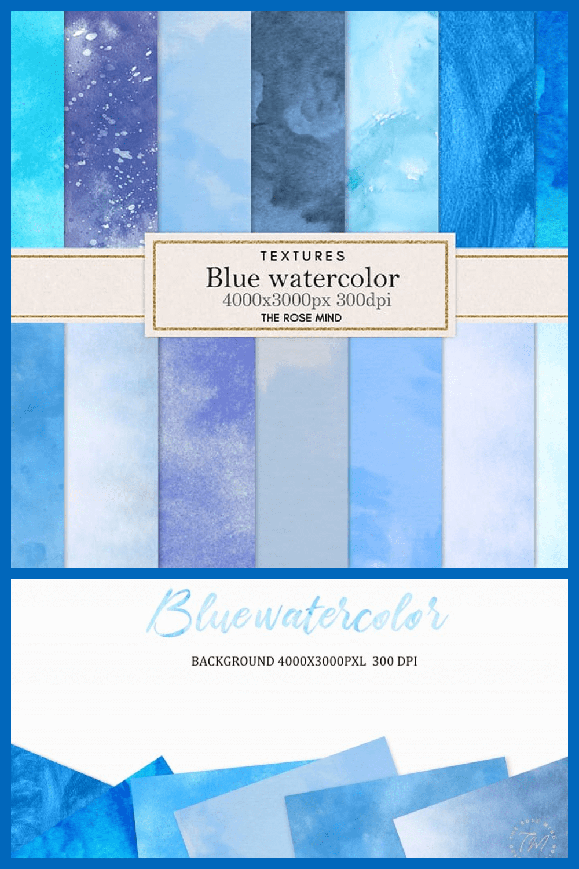 18 Blue Watercolor Backgrounds - MasterBundles - Pinterest Collage Image.