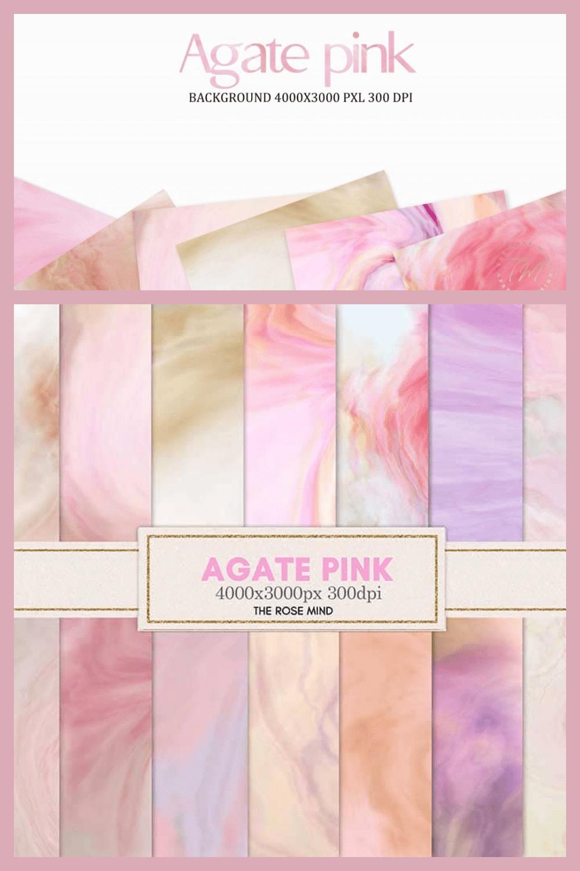 Agata: Pink Digital Paper Collection - MasterBundles - Pinterest Collage Image.