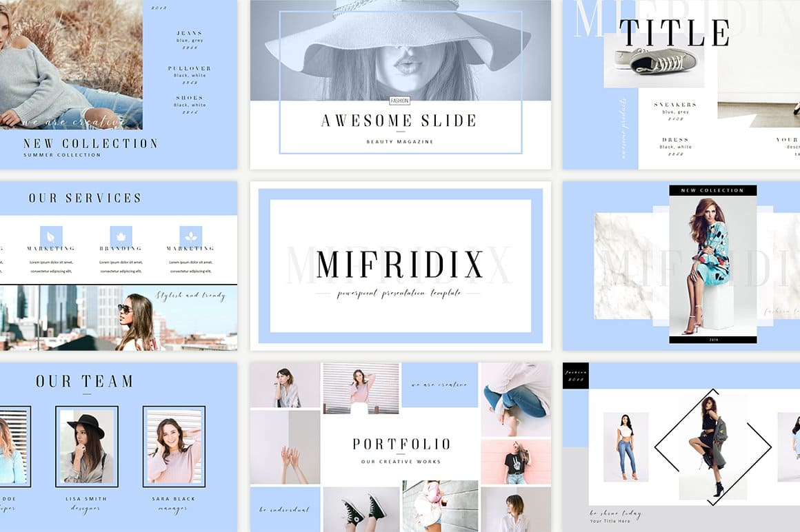 Mifridix - Powerpoint Template in Sky Blue.