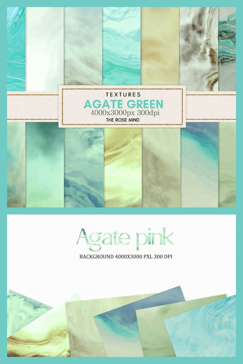 Agate Green: Collection of 18 Green Digital Papers - MasterBundles - Pinterest Collage Image.